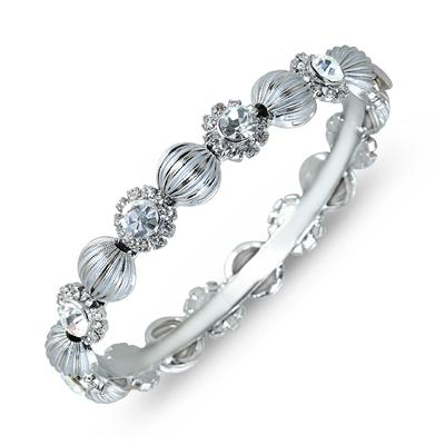 White Crystal Antique Flower Bangle