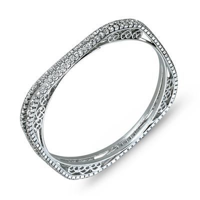 White Crystal Art Deco Bangle Bracelets