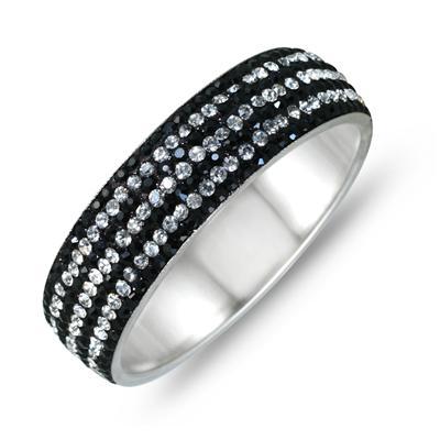Black Rhinestone and White Crystal Bangle