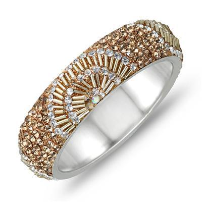 Citrine and White Crystal Gatsby Inspired Rhinestone Bangle
