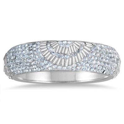 White Crystal Gatsby Inspired Rhinestone Bangle