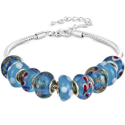 Hand Blown Murano Style Blue Glass Silver Bead Bracelet