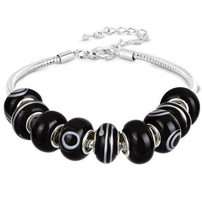 Black and White Evil Eye Glass Bead Bracelet
