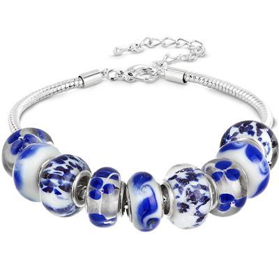 Blue and White Glass Bead Charm Bracelet