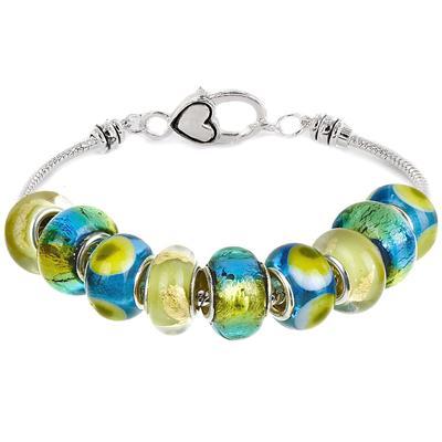 Caribbean Blue Green Glass Bead Charm Bracelet