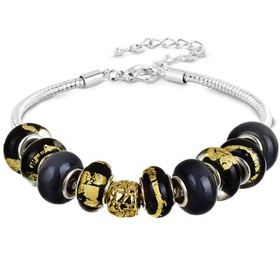 New Orleans Black and Gold Glass Bead Bracelet