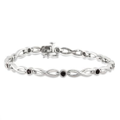 1/10 Carat Black Diamond Link Bracelet in .925 Sterling Silver