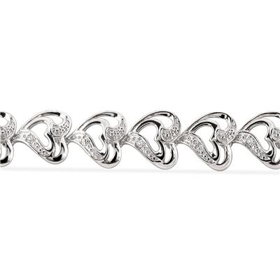 Diamond Accent Double Heart Link Bracelet in .925 Sterling Silver