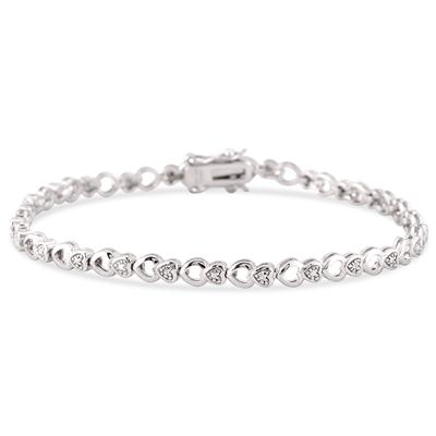 Diamond Accent Heart Link Bracelet in .925 Sterling Silver