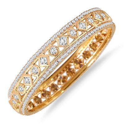 Gold Electroplated White Crystal Estate Bangle Bracelet (Medium)