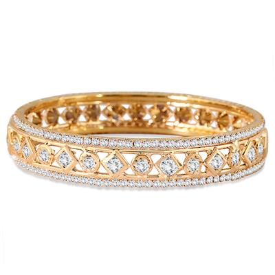 Gold Electroplated White Crystal Estate Bangle Bracelet (Medium)