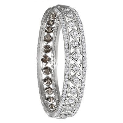 White Electroplated White Crystal Estate Bangle Bracelet (Medium)