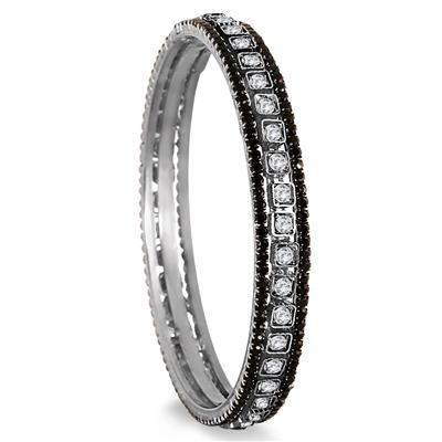 Black Rhinestone and White Crystal Bangle (Medium)