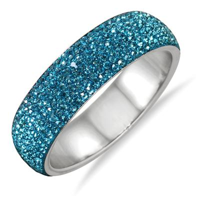 Blue Crystal Rhinestone Bangle (Medium)