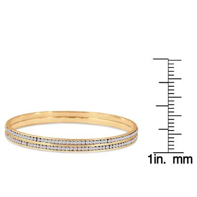 18K Gold Plated White Crystal Channel Set Bracelets (Medium)