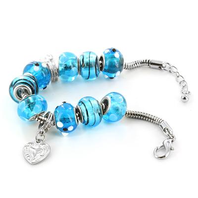 Hand Blown Blue MOM Glass Bead and Charm Bracelet