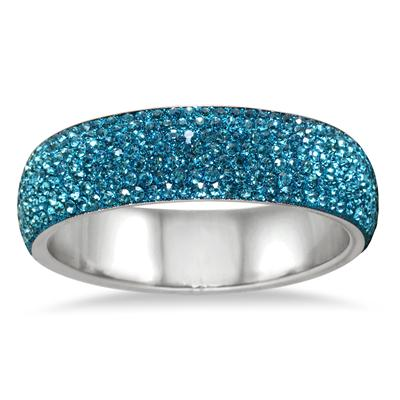 Blue Crystal Rhinestone Bangle (Large)