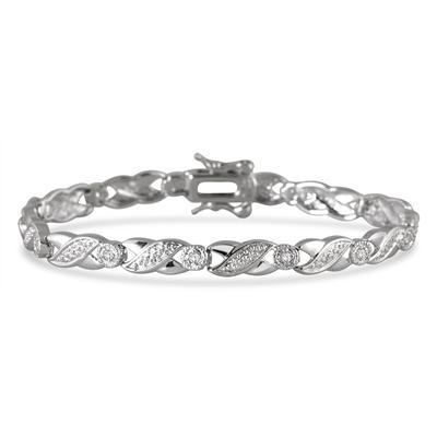 1/3 Carat Diamond X Link Bracelet in .925 Sterling Silver