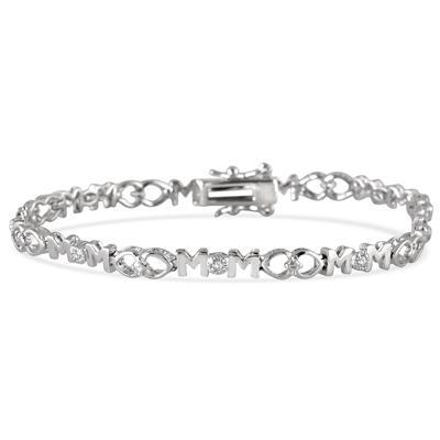 Diamond MOM Bracelet in .925 Sterling Silver