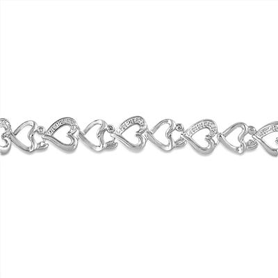 1/10 Carat Diamond Mother and Baby Heart Link Bracelet in .925 Sterling Silver