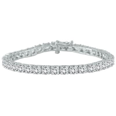 AGS Certified 11 Carat TW Classic Diamond Tennis Bracelet in 14K White Gold