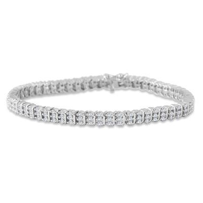 2.25 Carat Diamond Tennis Bracelet in .925 Sterling Silver