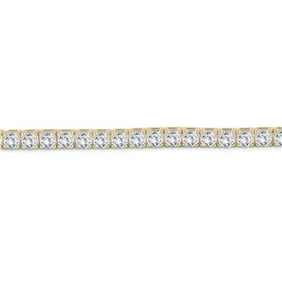 AGS Certified 9 Carat Classic Diamond Tennis Bracelet in 14K Yellow Gold