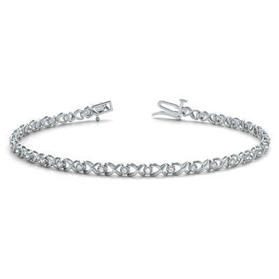 1/4 Carat TW XO Diamond Bracelet in 10K White Gold