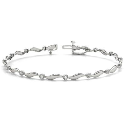 Diamond Wave Bracelet in 10K White Gold