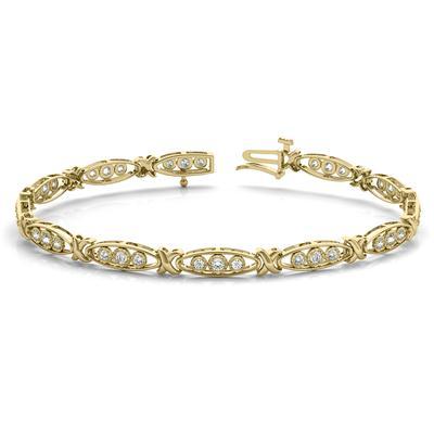 1/3 Carat TW Diamond Three Stone Bracelet in 10K Yellow Gold