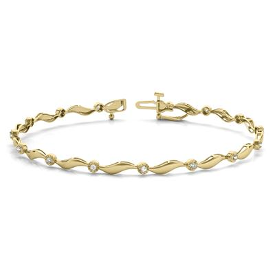 Diamond Accent Wave Bracelet in 10K Yellow Gold