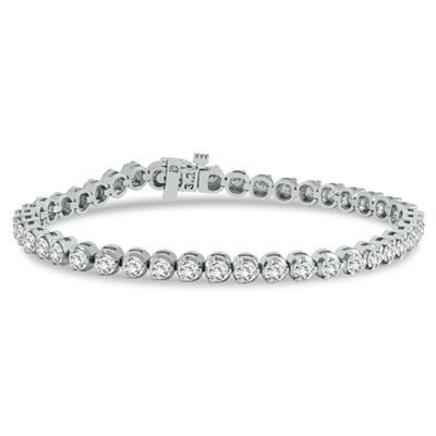 AGS Certified 3 Carat TW Three Prong Diamond Tennis Bracelet in 14K White Gold