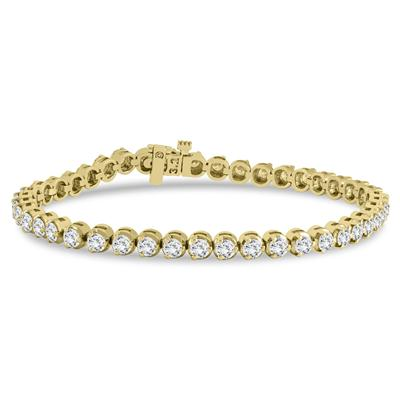 AGS Certified 3 Carat TW Three Prong Diamond Tennis Bracelet in 14K Yellow Gold