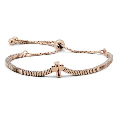 Cross Bolo Bracelet in Plated .925 Sterling Silver