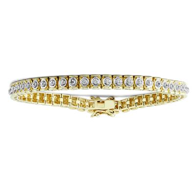 Diamond Accent Tennis Bracelet in .925 Sterling Silver with Yellow Plating