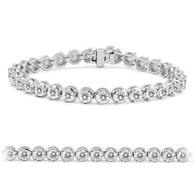 AGS Certified 10 Carat TW Classic Diamond Tennis Bracelet in 14K White Gold