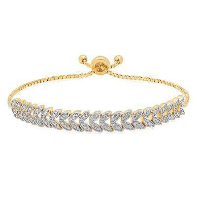 Adjustable Diamond Bolo Bracelet in Gold Plated Brass