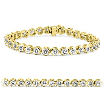 AGS Certified 10 Carat TW Classic Diamond Tennis Bracelet in 14K Yellow Gold