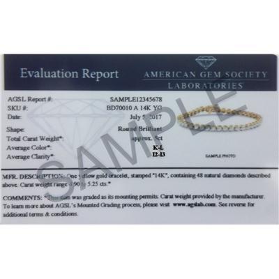 AGS Certified 10 Carat TW Classic Diamond Tennis Bracelet in 14K Yellow Gold