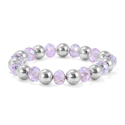 Pink Crystal Beaded Ball Bracelet in .925 Sterling Silver