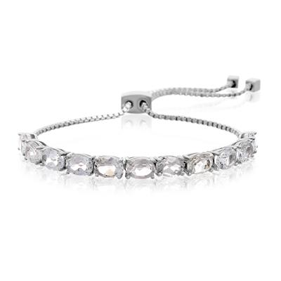 5 1/2 Carat TW White Topaz Adjustable Bolo Slide Tennis Bracelet