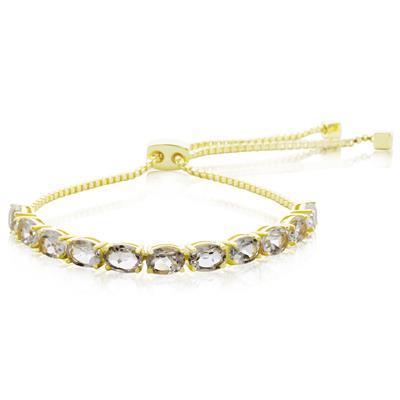 5 1/2 Carat TW White Topaz Adjustable Bolo Slide Tennis Bracelet In Yellow Gold Overlay