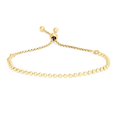 Beaded Bolo Bracelet in Yellow Gold Plated .925 Sterling Silver
