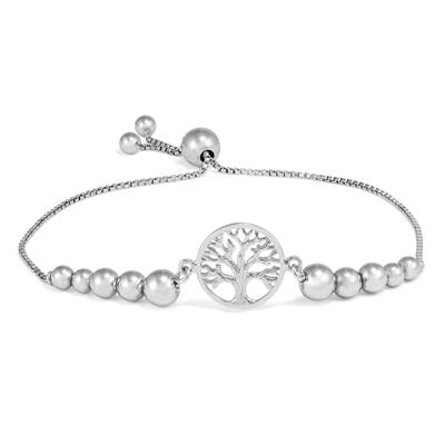 Tree of Live Beaded Bolo Bracelet in .925 Sterling Silver