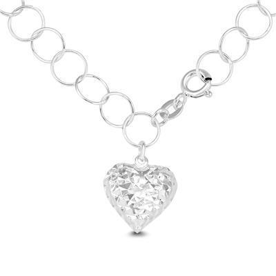 Heart Charm Bracelet in Plated .925 Sterling Silver