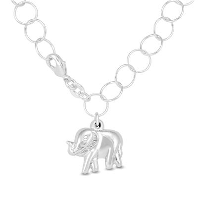 Elephant Charm Bracelet in Plated .925 Sterling Silver