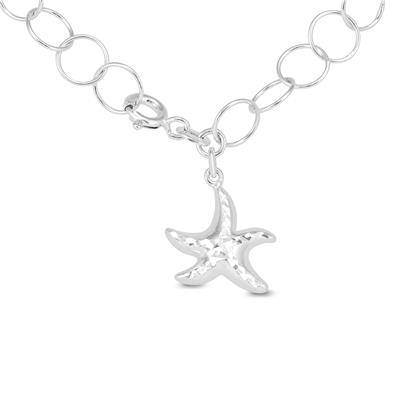 Starfish Charm Bracelet in Plated .925 Sterling Silver