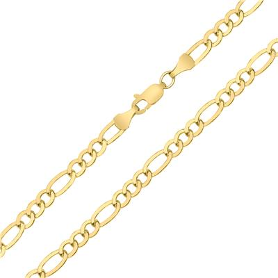 14K Yellow Gold Filled 4.3MM Figaro Bracelet with Lobster Clasp