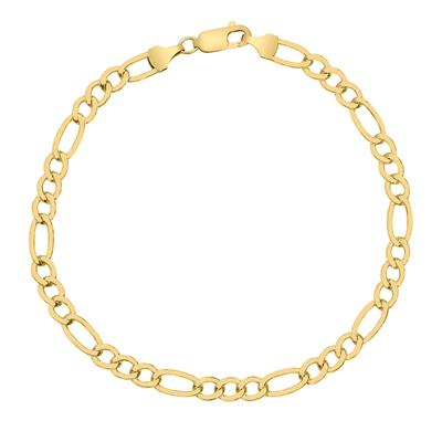14K Yellow Gold Filled 5.2MM Figaro Bracelet with Lobster Clasp