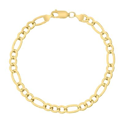 14K Yellow Gold Filled 6MM Figaro Bracelet with Lobster Clasp